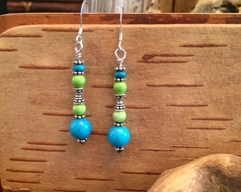 Kingman Turquoise,Yellow Turquoise , Sterling Silver earrings