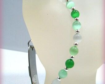 Green White Cats Eye Glass Beaded Medical ID Alert Bracelet