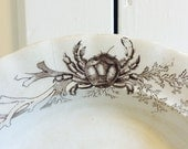 Antique Ironstone Black Transferware Soup Bowl with Crab and Ocean Ships