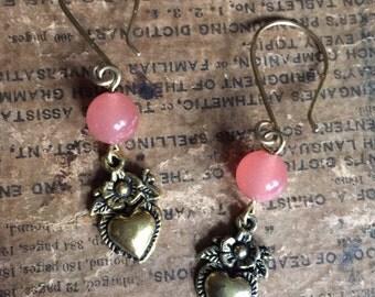 Hearts n Flower Brass n Stone Earrings
