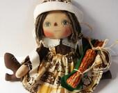 Primitive Raggedy Ann Thanksgiving Doll Corn Cobb Ornie Bonnet Apron Pilgrim