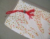 Polka Dot Pouch in natural cotton for gadgets, books or pencils