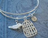 Bird Bangle Hand Stamped Disc Monogram Bracelet Pearl Bird with Silver Birdcage Charm Bracelet