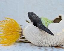 NEW!!!!! Raku Baby Hatching Turtle, OOAK,Raku Baby Sea Turtle,Crackle Honu