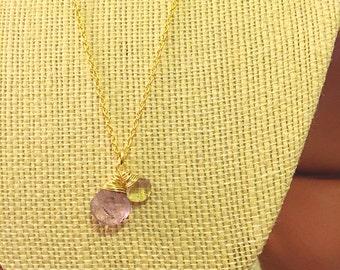 Faceted Amethyst and Lemon Quartz Teardrop Necklace on 14k Gold