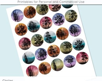 "Moonlight Trees 1 inch 1.25"" and 1.5"" Circles Collage Sheet for Glass and   Resin Pendants Bottle Caps Digital Download JPG"