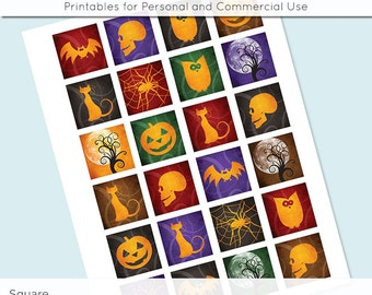 Halloween Digital Collage Sheet 1x1 Inch Squares and 1.5 Inch Squares  for Glass Resin Pendants Charms JPG Q0031 S0031 1 Inch