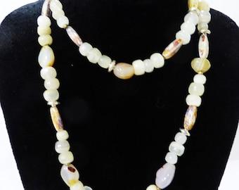 Vintage necklace semi precious stones jewelry artisan handcrafted