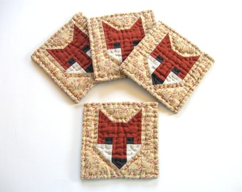 Fall Fox Quilted Coasters - Fabric Coasters Drink Coasters Patchwork Coasters Rustic Home Decor Country Home Decor Fall Decor Autumn Decor