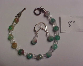 Candy Jade handmade bracelet with matching 925 lever back ear rings
