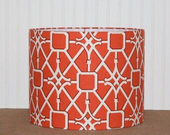 Geometric Drum Lamp Shade - Lampshade - Drum Shade - Waverly Coral Trellis - Lamp Shade - Orange Lamp Shade - Modern Drum Shade