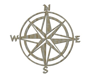 Unfinished Wood Compass 17.5 X 17.5 Inch Door Hanger Wall Decor
