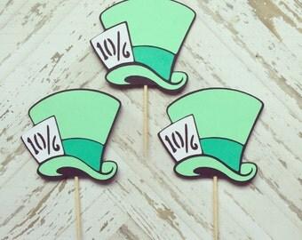 1 Dozen Mad Hatter Hats Cupcake Picks