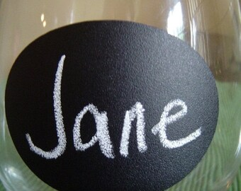 On SALE- Small Oval Chalk Labels (tm) - Vinyl Chalkboard Labels Self Adhesive - 2.5 inch - 12