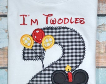 I'm twodles Mickey Mouse, Boys Birthday Shirt , Boys Disney Shirt, Mickey Mouse Birthday Shirt