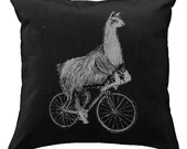 Llama on a Bicycle - Throw Pillow