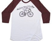 Mens Raglan Baseball Tee - Fox on a Bicycle