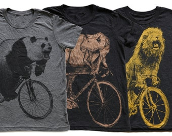 Kids Animal on Bicycle T Shirt Pack- Fierce Collection Kids T Shirt, Children Tee, Tri Blend Tee, Handmade graphic tee, sizes 2-12