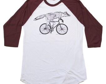 Mens Raglan Baseball Tee - Fox on a Bicycle