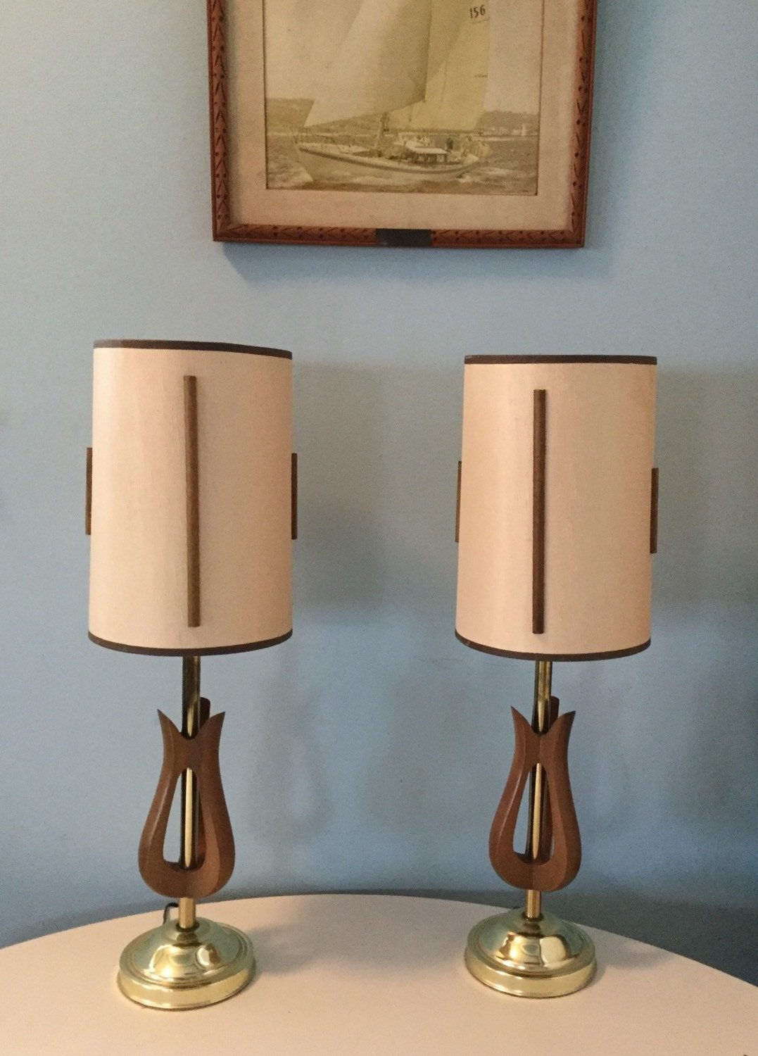 pair mid century modern lamps wood brass finish shades