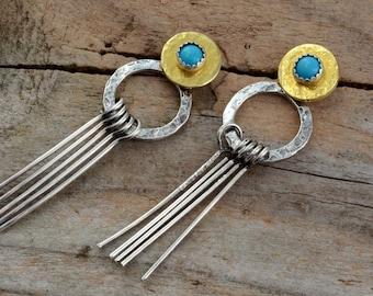 Genuine turquoise front back ear jacket sterling silver double sided hoop earrings gypsy boho gold post stud unusual stick fringe jewelry