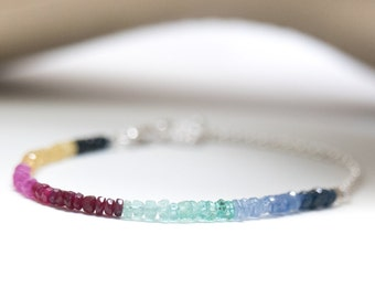 Rubies Sapphires Emeralds Sterling Silver Ombre Bracelet Chain and Charm Beaded Stone Gift for her girl mother daughter sister girlfriend