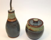 Ceramic Olive Oil bottle-  Gray Blue and Green, with food grade spout  and matching small jar -  Ready to Ship