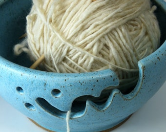 Bridges Pottery Yarn Bowl  Knitting Bowl Turquoise Showcased by Vogue KNitting  MADE to Order
