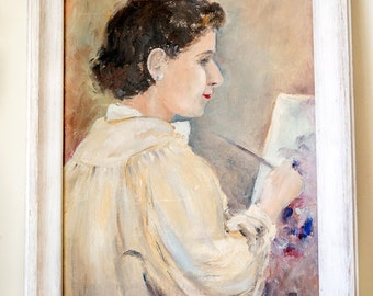 1940s Woman Painter Portrait Oil Painting on Canvas