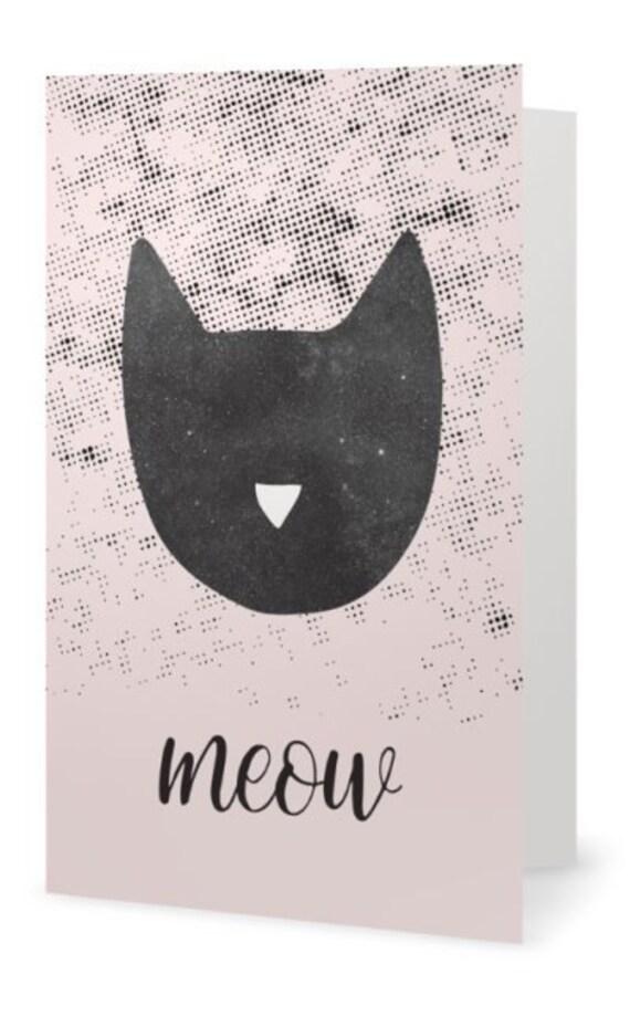 MEOW // Greeting Card, 5x7, Scandinavian Design, minimalist art print, cat print, Pastel colors, abstract art, pink and black