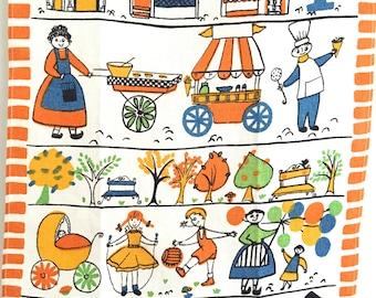 Vintage Towel Houses Children Mid Century Eames Chef HAPPY Colors!