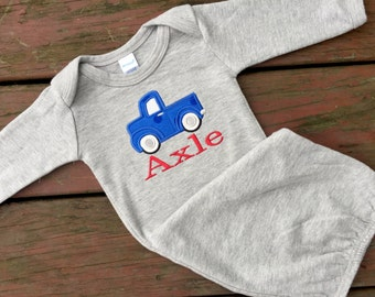 Personalized Baby Gown with Retro Truck Design and Name