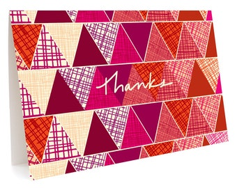 Geo Trio Folded Thank You Cards, Box of 6 - Boxed Thank You Notes - Pattern Thank Yous - OC1056-BX