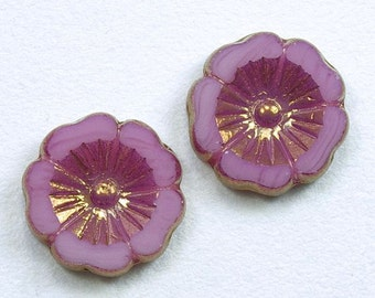 Large Hibiscus Flowers 22mm Pink Opaline Bronze Picasso Czech Glass Beads - 2