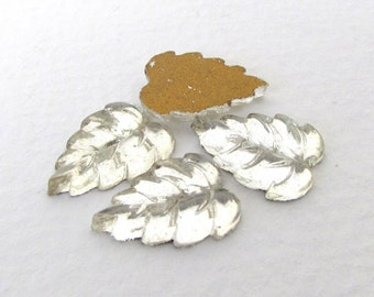 Vintage Glass Cabochon Crystal Clear Leaves Floral Foiled 15x10mm gcb1198 (4)