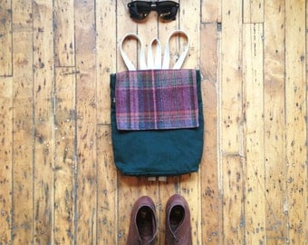 Hipster Backpack. Small Plaid Canvas Backpack. Small Maroon and Green Rucksack. Small Green Backpack Purse. Waxed Canvas Pack.