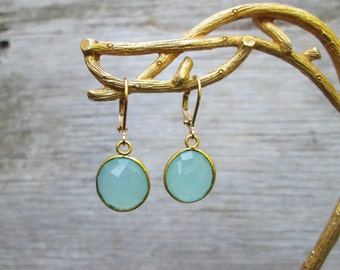 Aqua Blue Chalcedony Drop Earrings, Gold Tone or Gold Filled Bridesmaids Gifts