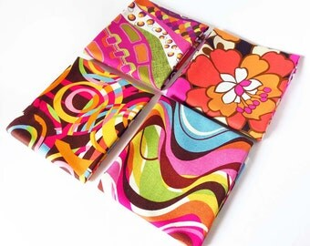 fat quarter bundle - four coordinating cotton prints in orange, hot pink, and brown