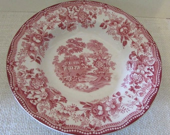 Vintage Tonquin Royal Staffordshire red transferware bowl By Clarice Cliff Made in England