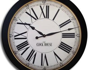 30in CAMBRIDGE DELUXE Black Frame Large Wall Clock Family Heirloom FREE Inscription