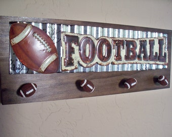 Football wall decor, sports decor, kids room decor, teens room decor, sports memorabilia.