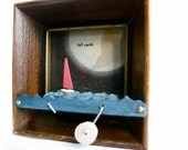 wooden box nautical sailboat automaton, kinetic wood sculpture,  full earth illustration, small picture frame