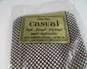 Vintage NOS 1960's Brown Fishnet Full Length Seamless Stockings