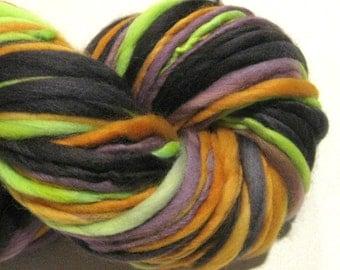 Handspun Yarn, Monster Mash, 132 yards, hand dyed merino wool, Halloween yarn, black, orange,  waldorf doll hair, knitting supplies,crochet