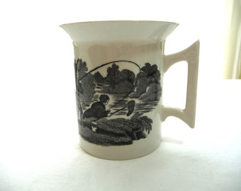vintage Toile Cup, small Cup, Made in England, black and white, Fisherman, unique Cup, vintage housewares, collectible cup, vintage tea cup