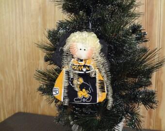 Iowa Hawkeyes - fabric angel ornament #2