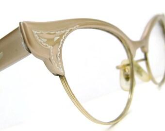 Vintage Cat Eye Glasses Eyeglasses Frame With Spring Hinges 12Kt gf