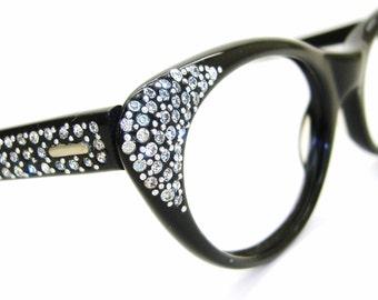 Vintage Cat Eye Glasses Eyeglasses or Sunglasses Rhinestones
