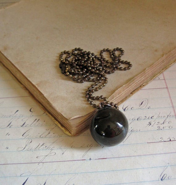 Dark Brown Shooter Marble Necklace Glass Jewelry