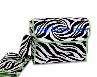 Diaper Bag *ON SALE* Personalized Zebra Print with Green Trim